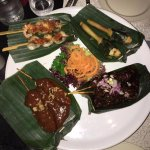 Satay - chicken, shrimp, goat and fish.