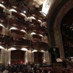 Es una foto de la sala de conciertos en donde se ven los palcos y u poco el foro
