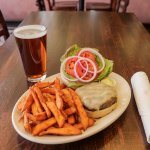 Beaver Street Burger with sweet potato fries
