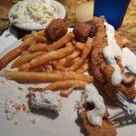 fish, coleslaw, hush puppies, fries