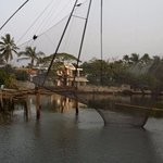 Chinese fishing nets along the backwaters near Ben's