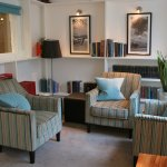 Our compact library can be used for relaxing and also booked for small events, tea & fine dining
