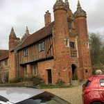 West Stow Hall exterior and the Tudor drawings above fireplace