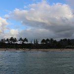 View of beach & bathers, from Pavilion Pier, Hanalei Beach/Bay, KAUAI