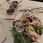 Tiny oysters with 3 sauces, an appetizer