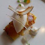 Caramelised pineapple, coconut, passion fruit jelly, white cheese sorbet
