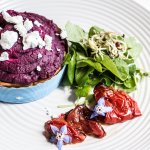 steak and beetroot pie with roasted tomatoes and greens