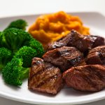 Grass fed steak tips!  Marinated, tender and delicious as an entre or add-on to a Ubowl or salad