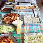 Delicious buffet spread at Joy's house.