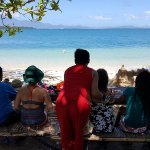 Our tour team enjoying the view in our last stop---Cowrie Island...