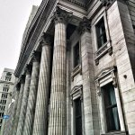 This is the beautiful BMO ( Bank of Montreal ) building located on Saint-Jacques St
