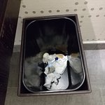 Trash from previous guest still in trashcan.