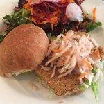 Seitan Burger with coleslaw