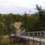 View of the elevated path to the bird watching area from the lighthouse area.
