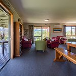 The Lodge's lounge which opens up to a protected verandah and lovely views.