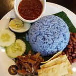 This nasi lemak (coconut rice) is true blue peranakan!