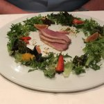 Duck salad. First time for me and I couldn't. It was just too rare for me. He loved every bite.