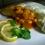 Salmon Fillet with Hungarian Shrimps Ragout and Curd Cheese Dumplings with Dill