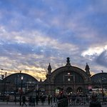 The train station at sunset