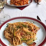 Pasta with bacon & courgettes, pasta with bacon & tomato sauce.