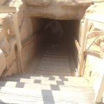 the entrance to go underneath the fallen pyramid