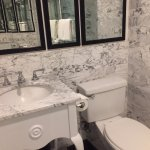 I love love love white marble and white painted vanity. CLEAN!