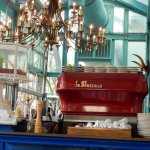 Check out the antique aquarium on the bar!