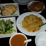 Pak Choy, Chicken Egg Foo Young, Noodles, Special Cantonese Noodles, Curry Sauce