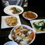 Pak Choi, Noodles, Chicken Foo Young, Beef chow mein,