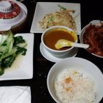 Pak Choy, Curry Sauce, Boiled Rice, Crispy Shredded Beef Cantonese style, Chicken Foo Young.