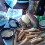 Tastey Crab Cake Sandwich With Fresh Slaw And Fries!