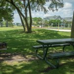 Picnic tables and outdoor grill for guests to use