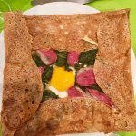AMAZING crispy galette with duck breast, spinach, cheese and egg