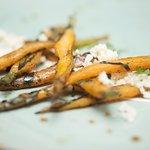 Wonderfully prepared grilled heriloom carrots with thai curried yogurt