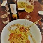 The carpaccio and scampi spaghetti