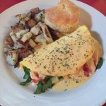 One of our brunch specials, made with free range eggs! (organic home fries and homemade biscuit)