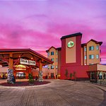 Exterior of Bear River Casino Resort at dusk.