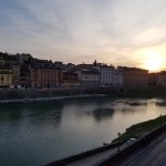 View from our Hotel Balestri room over the Arno River at sunset