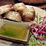 Pandan Chicken. Fragrant chicken in pandan leaf parcels with sticky dipping sauce. YUM !