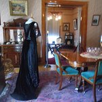 Another view of the dining room with formal gown.