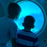 Port holes are large enough for little kids to share. 100 feet deep.