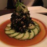 Wakame and cucumber salad - a dramatic presentation
