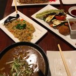 Yaki Soba, Beef Curry Udon and Grilled vegetable with extra Fried veggie rice