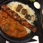 Steak and chicken kabob plate