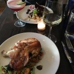 Kale Salad ,meatball and grits , half roasted chicken ,ribs ,banana foster - wow what a meal , f
