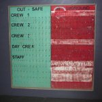 Crew sign in/out board