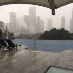 Swimming Pool under heavy rain