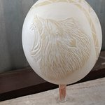 Beautifully Carved Ostrich Egg