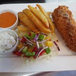Crispy Canary chicken with salad hand cut chips served with dips