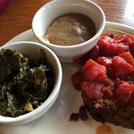 Meat loaf, collard greens, and mashed potatoes and gravy